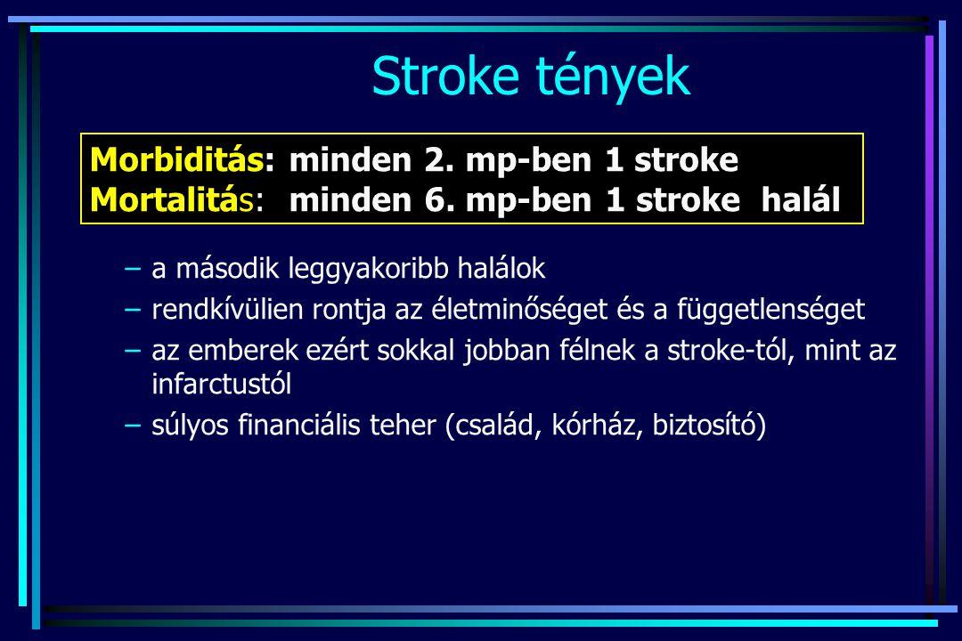 Stroke tények Morbiditás: minden 2. mp-ben 1 stroke