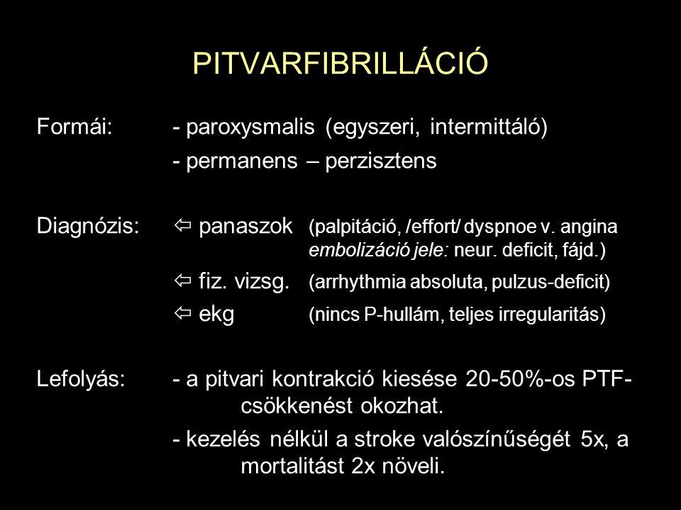 PITVARFIBRILLÁCIÓ Formái: - paroxysmalis (egyszeri, intermittáló)