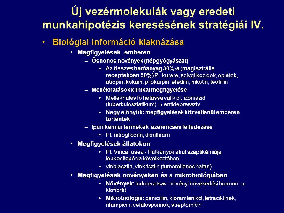 Új vezérmolekulák vagy eredeti munkahipotézis keresésének stratégiái IV.