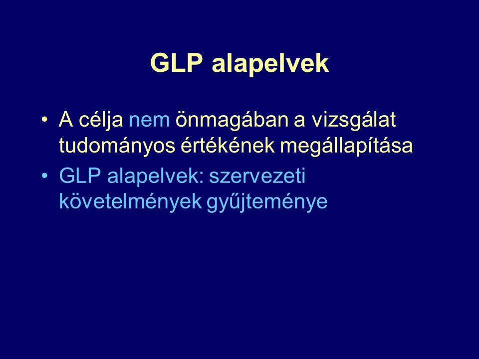 GLP alapelvek A célja nem önmagában a vizsgálat tudományos értékének megállapítása.