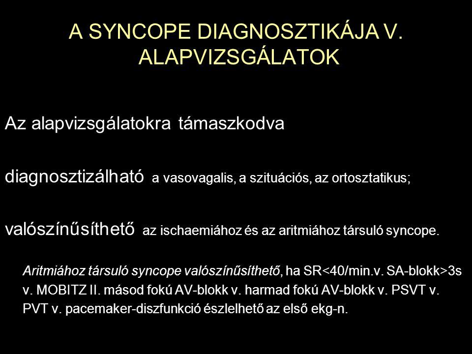 A SYNCOPE DIAGNOSZTIKÁJA V. ALAPVIZSGÁLATOK