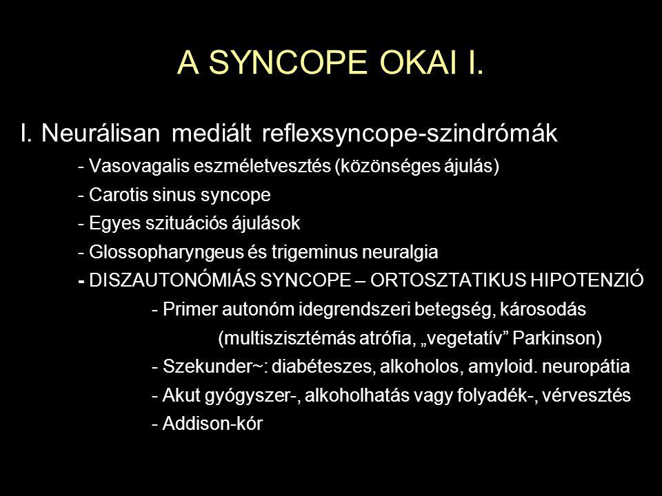 A SYNCOPE OKAI I. I. Neurálisan mediált reflexsyncope-szindrómák