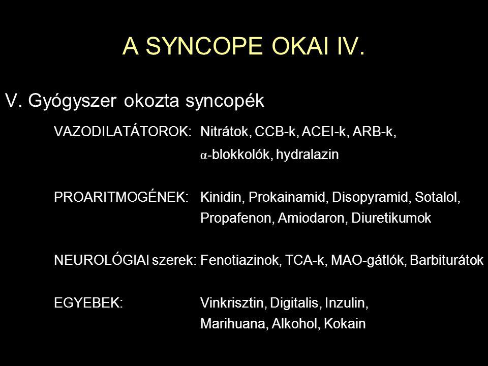 A SYNCOPE OKAI IV. V. Gyógyszer okozta syncopék