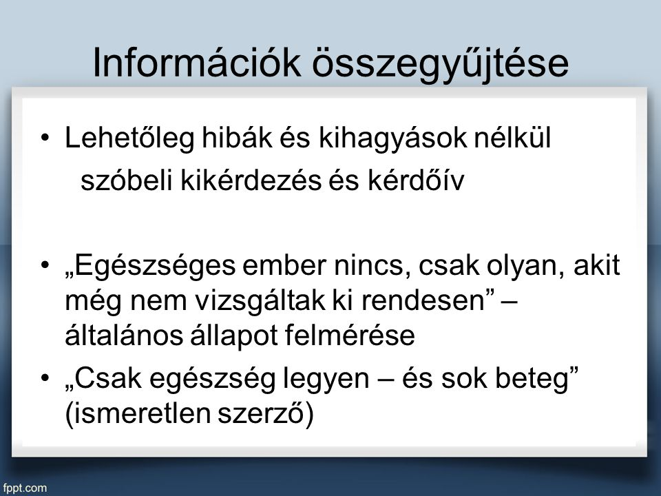 Információk összegyűjtése