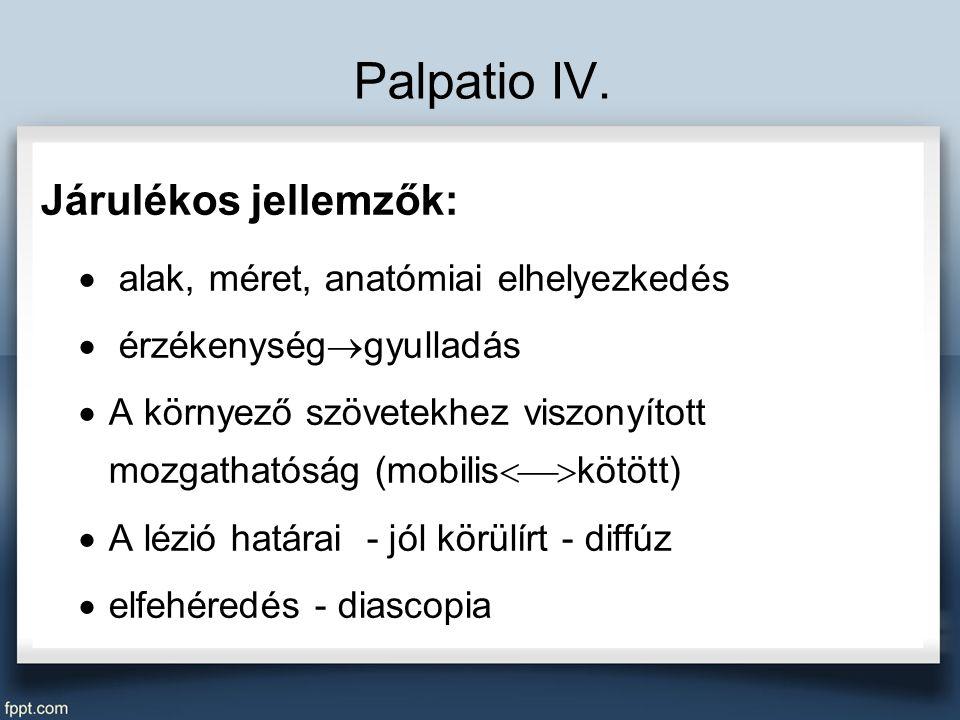 Palpatio IV. Járulékos jellemzők: alak, méret, anatómiai elhelyezkedés
