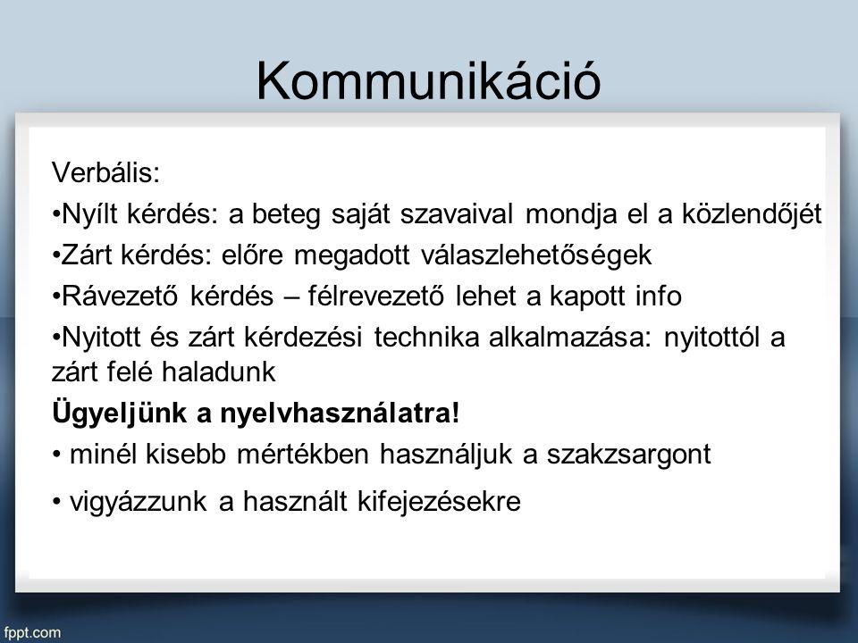 Kommunikáció Verbális: