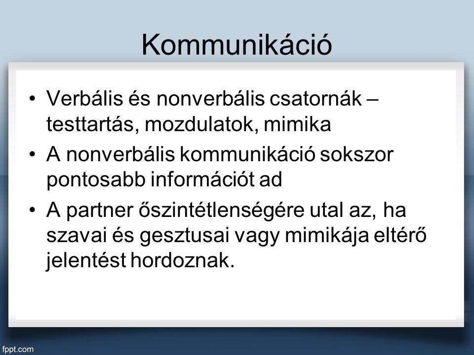 Kommunikáció Verbális és nonverbális csatornák – testtartás, mozdulatok, mimika. A nonverbális kommunikáció sokszor pontosabb információt ad.