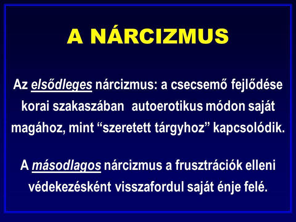 A NÁRCIZMUS Az elsődleges nárcizmus: a csecsemő fejlődése korai szakaszában autoerotikus módon saját magához, mint szeretett tárgyhoz kapcsolódik.