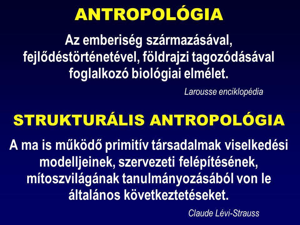 ANTROPOLÓGIA Az emberiség származásával, fejlődéstörténetével, földrajzi tagozódásával foglalkozó biológiai elmélet.