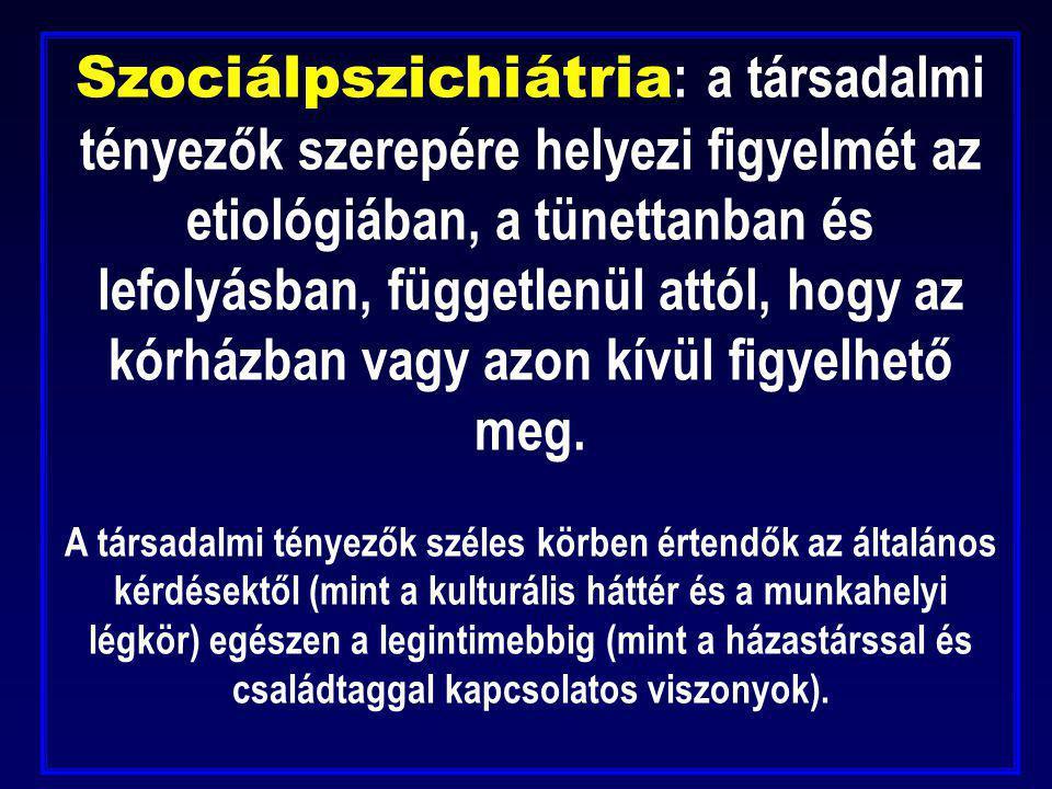 Szociálpszichiátria: a társadalmi tényezők szerepére helyezi figyelmét az etiológiában, a tünettanban és lefolyásban, függetlenül attól, hogy az kórházban vagy azon kívül figyelhető meg.