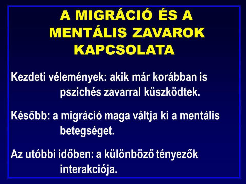 A MIGRÁCIÓ ÉS A. MENTÁLIS ZAVAROK