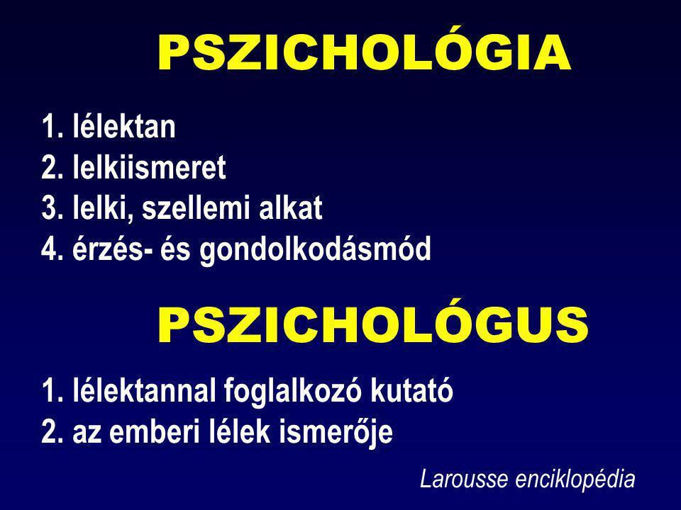 PSZICHOLÓGIA 1. lélektan 2. lelkiismeret 3. lelki, szellemi alkat 4