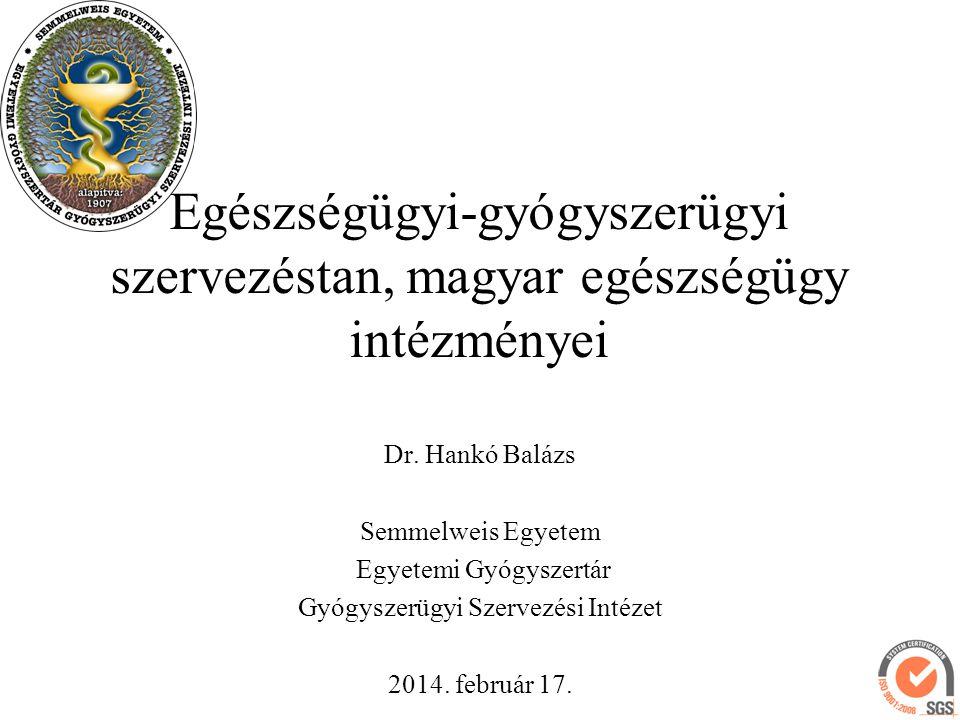 Egészségügyi-gyógyszerügyi szervezéstan, magyar egészségügy intézményei