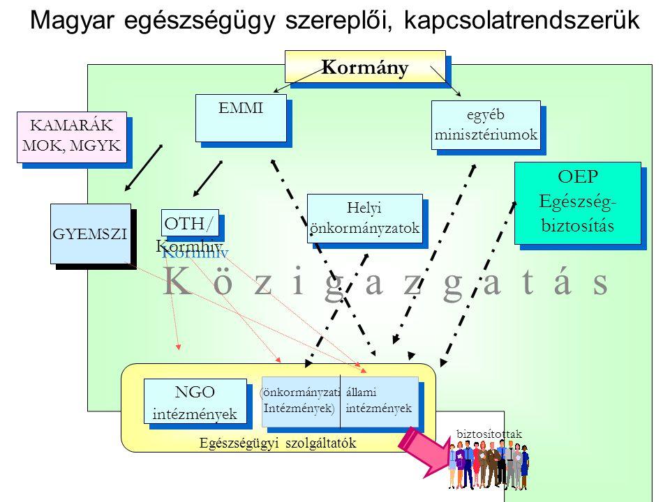 Magyar egészségügy szereplői, kapcsolatrendszerük