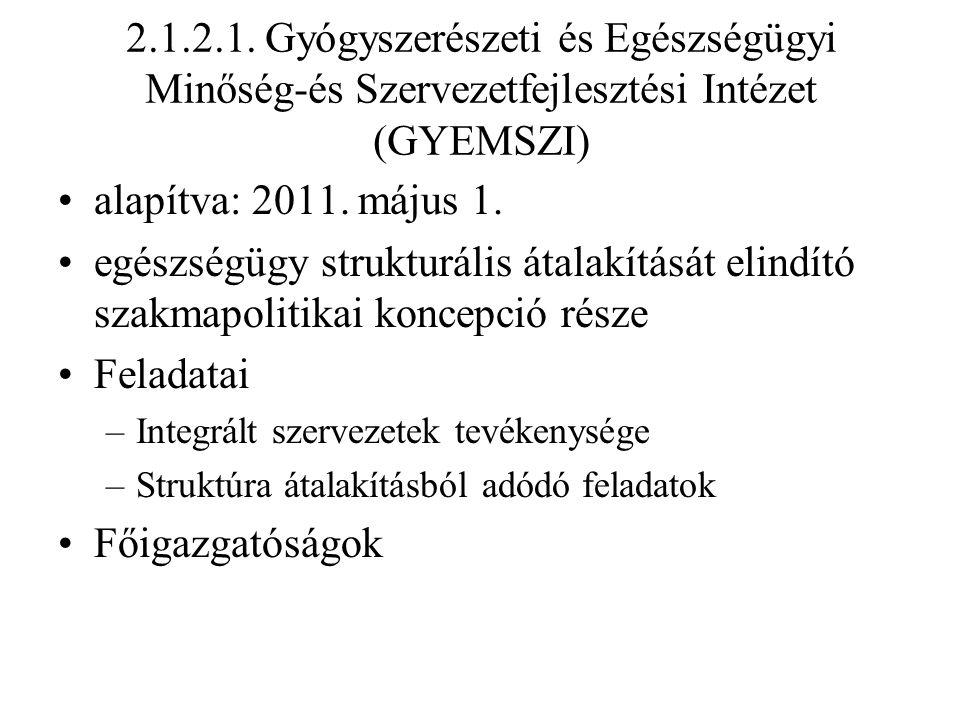 2.1.2.1. Gyógyszerészeti és Egészségügyi Minőség-és Szervezetfejlesztési Intézet (GYEMSZI)