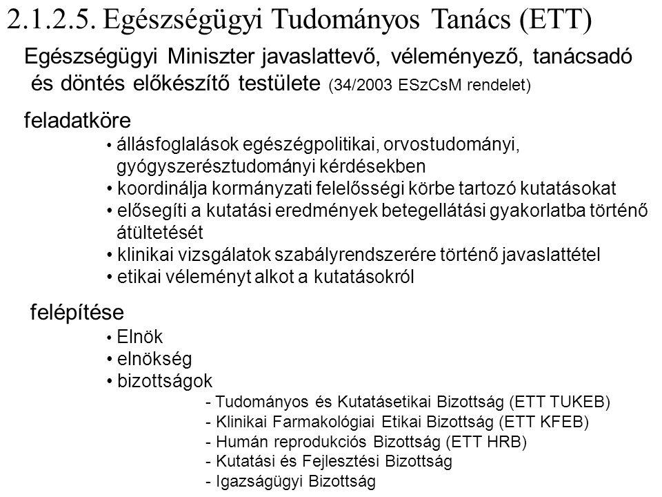 2.1.2.5. Egészségügyi Tudományos Tanács (ETT)
