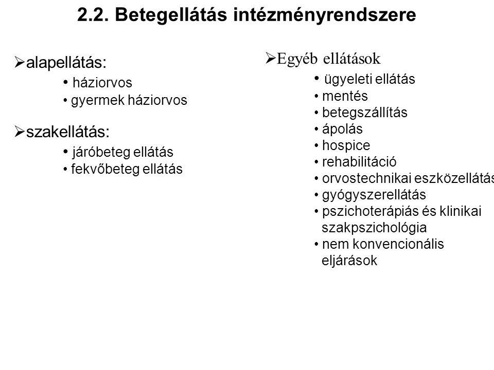 2.2. Betegellátás intézményrendszere