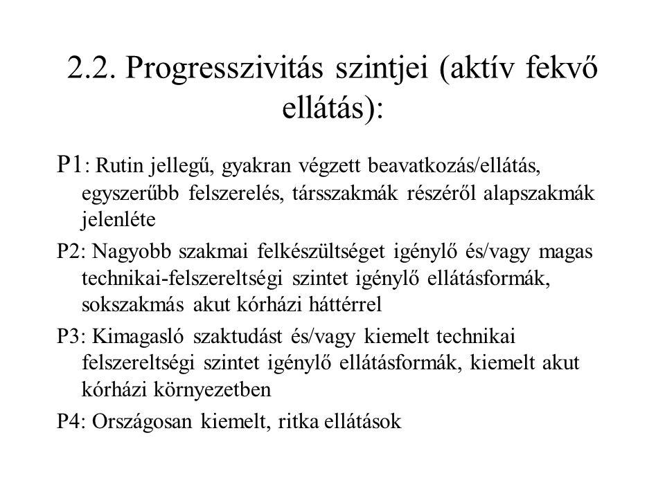 2.2. Progresszivitás szintjei (aktív fekvő ellátás):