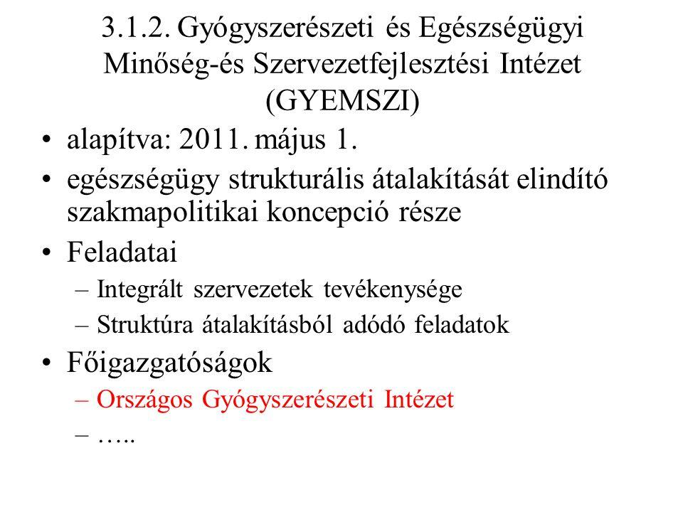 3.1.2. Gyógyszerészeti és Egészségügyi Minőség-és Szervezetfejlesztési Intézet (GYEMSZI)