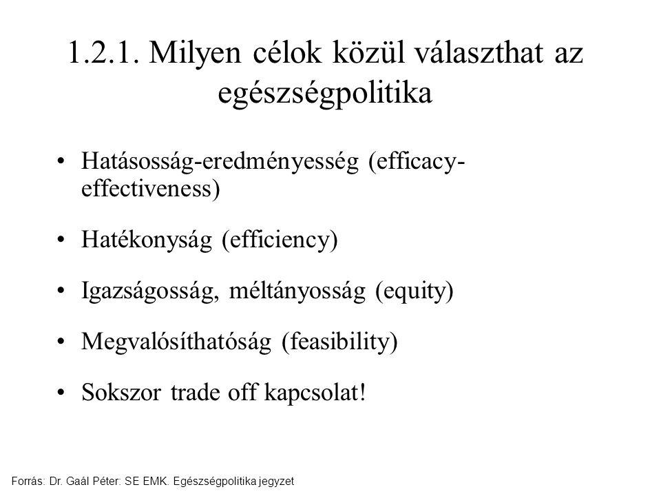 1.2.1. Milyen célok közül választhat az egészségpolitika