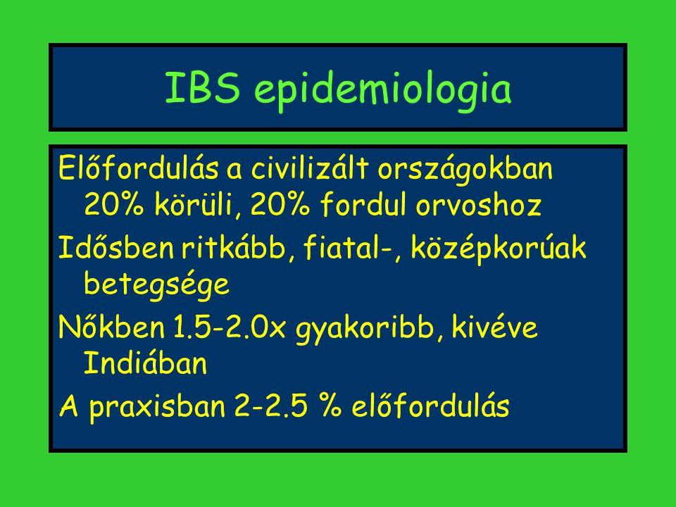 IBS epidemiologia Előfordulás a civilizált országokban 20% körüli, 20% fordul orvoshoz. Idősben ritkább, fiatal-, középkorúak betegsége.