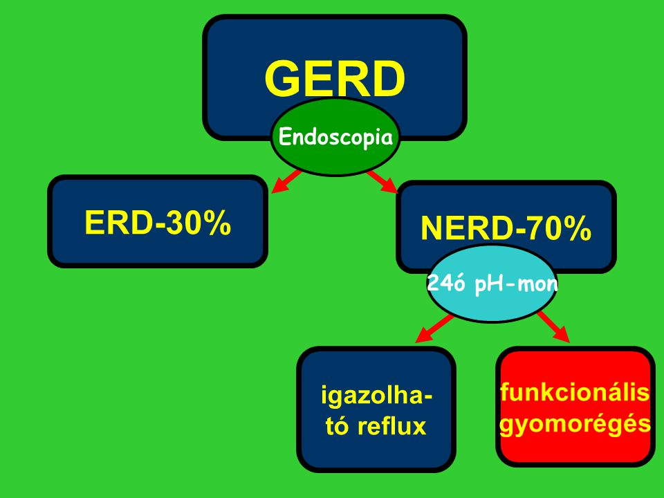 GERD ERD-30% NERD-70% igazolha- funkcionális tó reflux gyomorégés