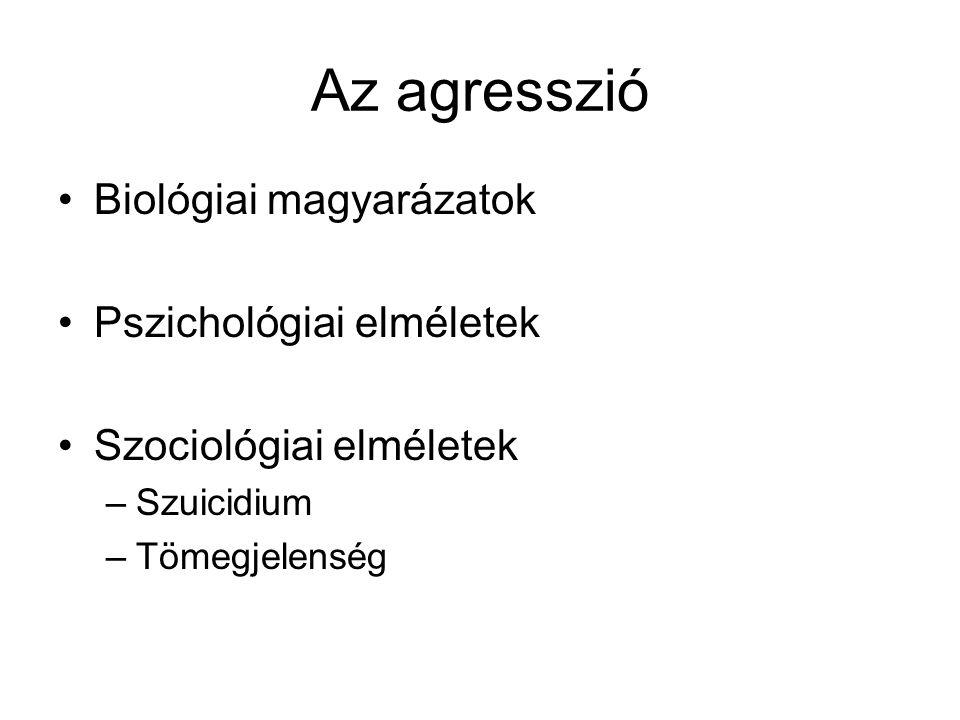 Az agresszió Biológiai magyarázatok Pszichológiai elméletek
