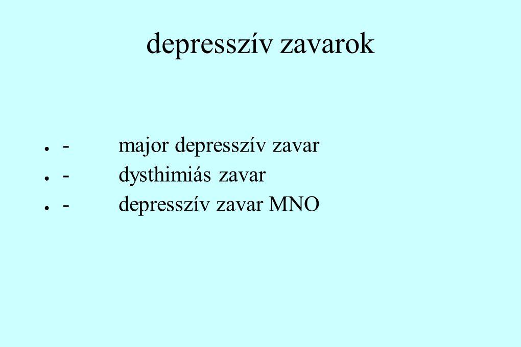 depresszív zavarok - major depresszív zavar - dysthimiás zavar