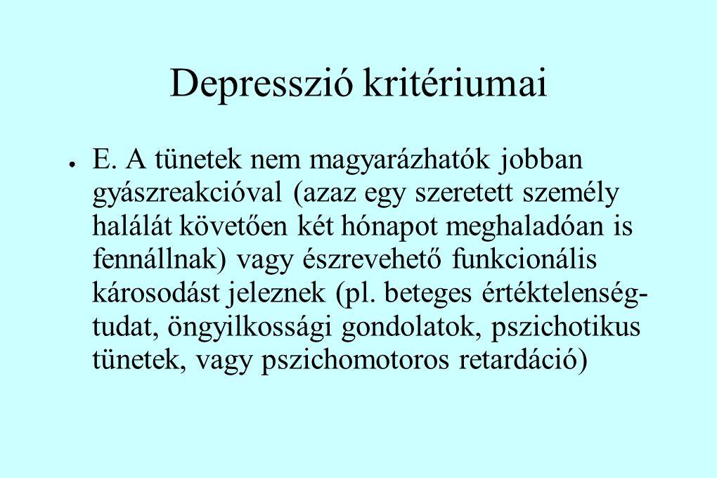 Depresszió kritériumai