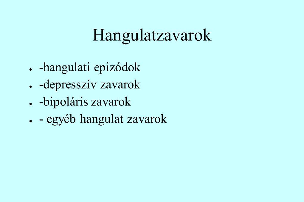 Hangulatzavarok -hangulati epizódok -depresszív zavarok