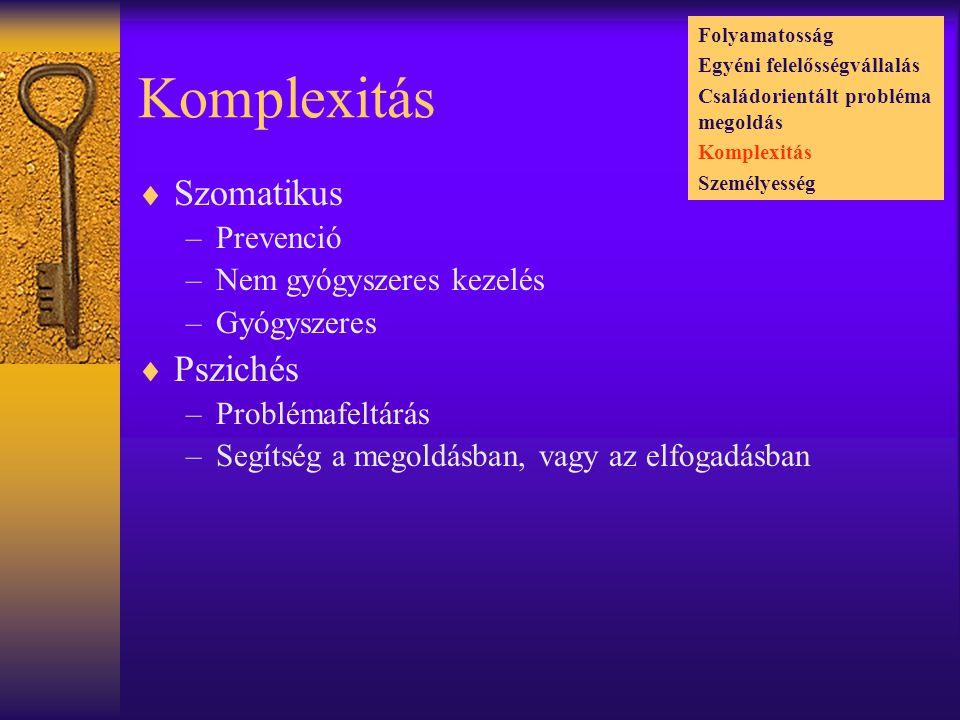 Komplexitás Szomatikus Pszichés Prevenció Nem gyógyszeres kezelés