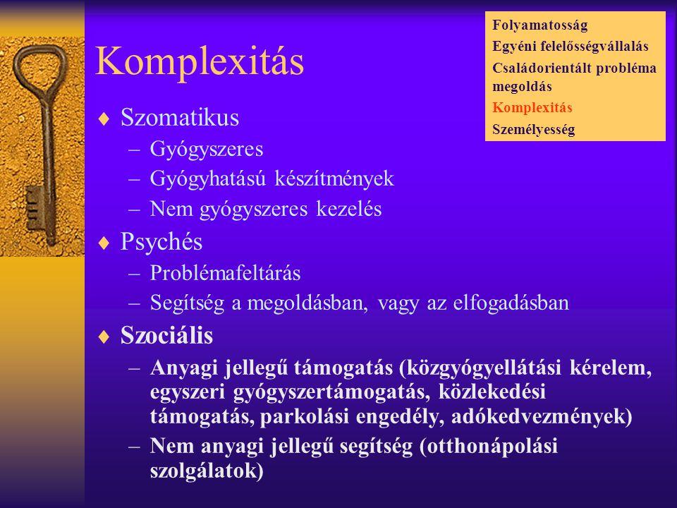 Komplexitás Szomatikus Psychés Szociális Gyógyszeres