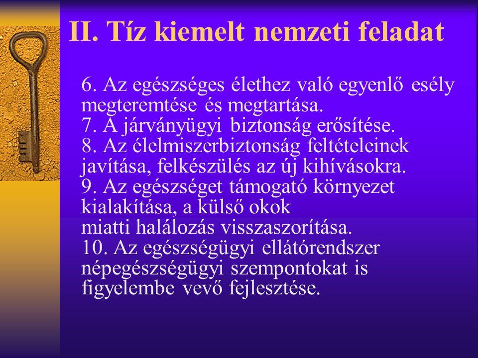 II. Tíz kiemelt nemzeti feladat