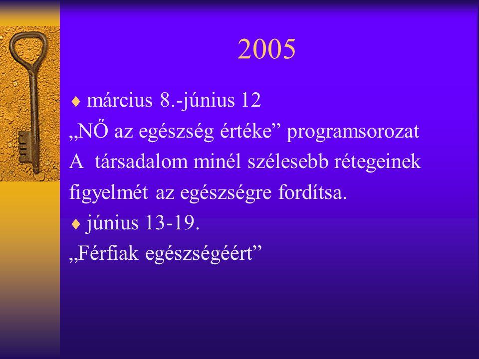 """2005 március 8.-június 12 """"NŐ az egészség értéke programsorozat"""