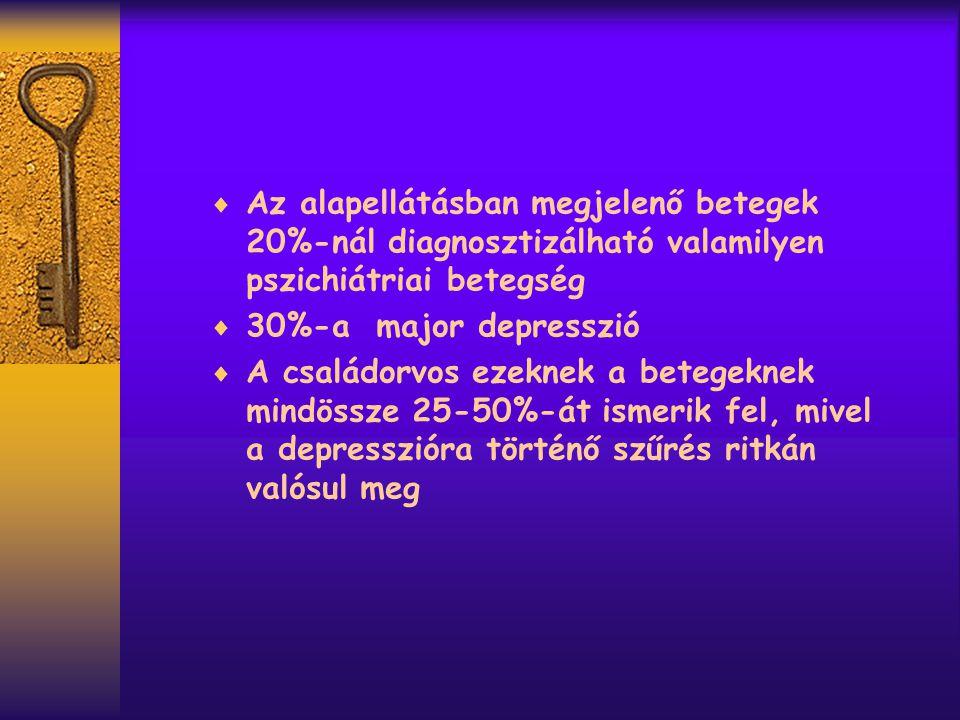 Az alapellátásban megjelenő betegek 20%-nál diagnosztizálható valamilyen pszichiátriai betegség