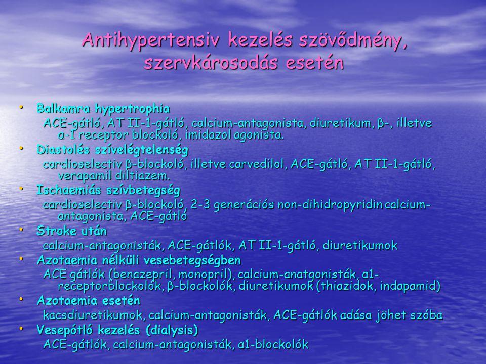 Antihypertensiv kezelés szövődmény, szervkárosodás esetén