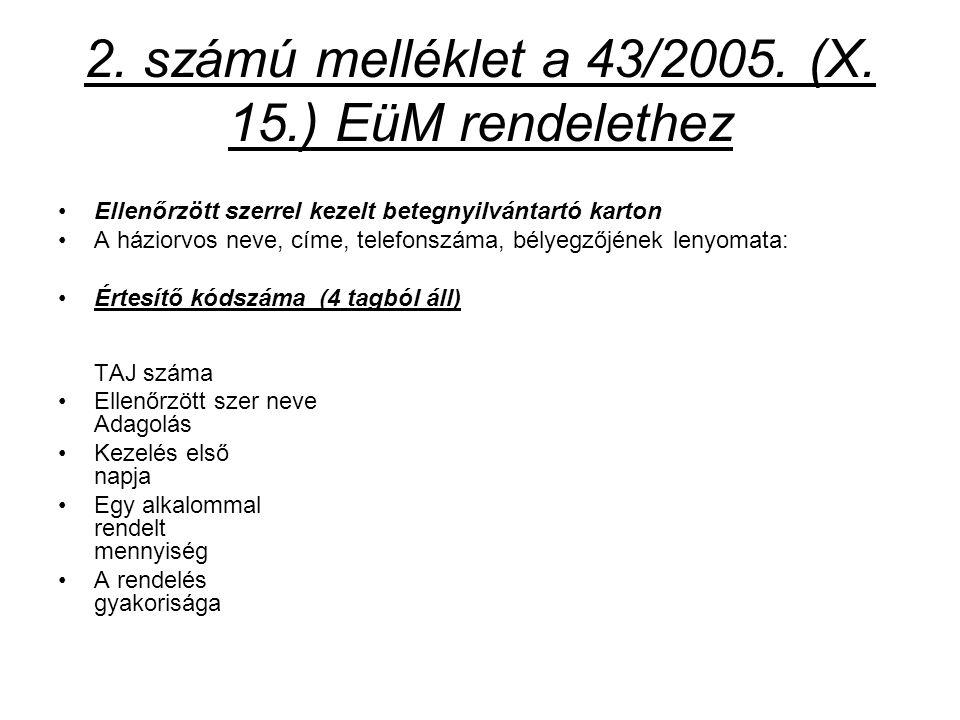 2. számú melléklet a 43/2005. (X. 15.) EüM rendelethez