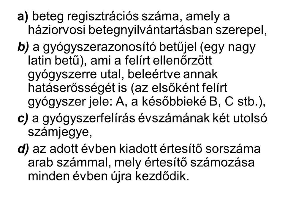 a) beteg regisztrációs száma, amely a háziorvosi betegnyilvántartásban szerepel,