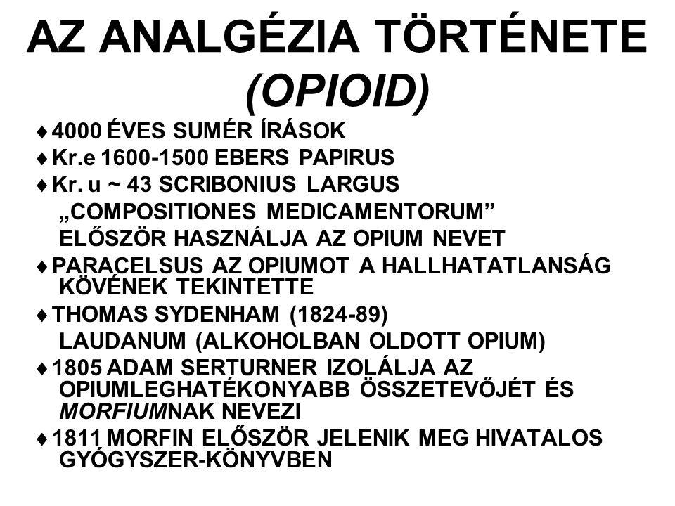 AZ ANALGÉZIA TÖRTÉNETE (OPIOID)