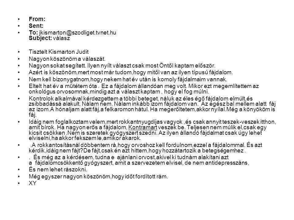 From: Sent: To: jkismarton@szodliget.tvnet.hu Subject: válasz. Tisztelt Kismarton Judit. Nagyon köszönöm a válaszát.