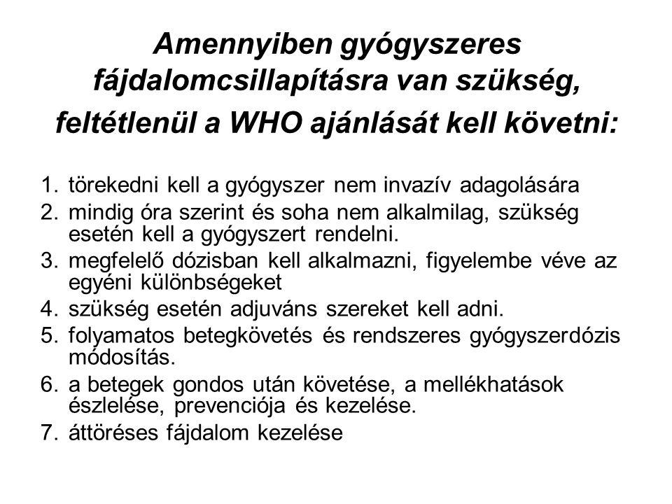 Amennyiben gyógyszeres fájdalomcsillapításra van szükség, feltétlenül a WHO ajánlását kell követni:
