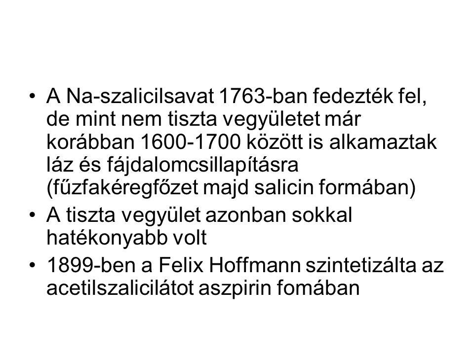 A Na-szalicilsavat 1763-ban fedezték fel, de mint nem tiszta vegyületet már korábban 1600-1700 között is alkamaztak láz és fájdalomcsillapításra (fűzfakéregfőzet majd salicin formában)