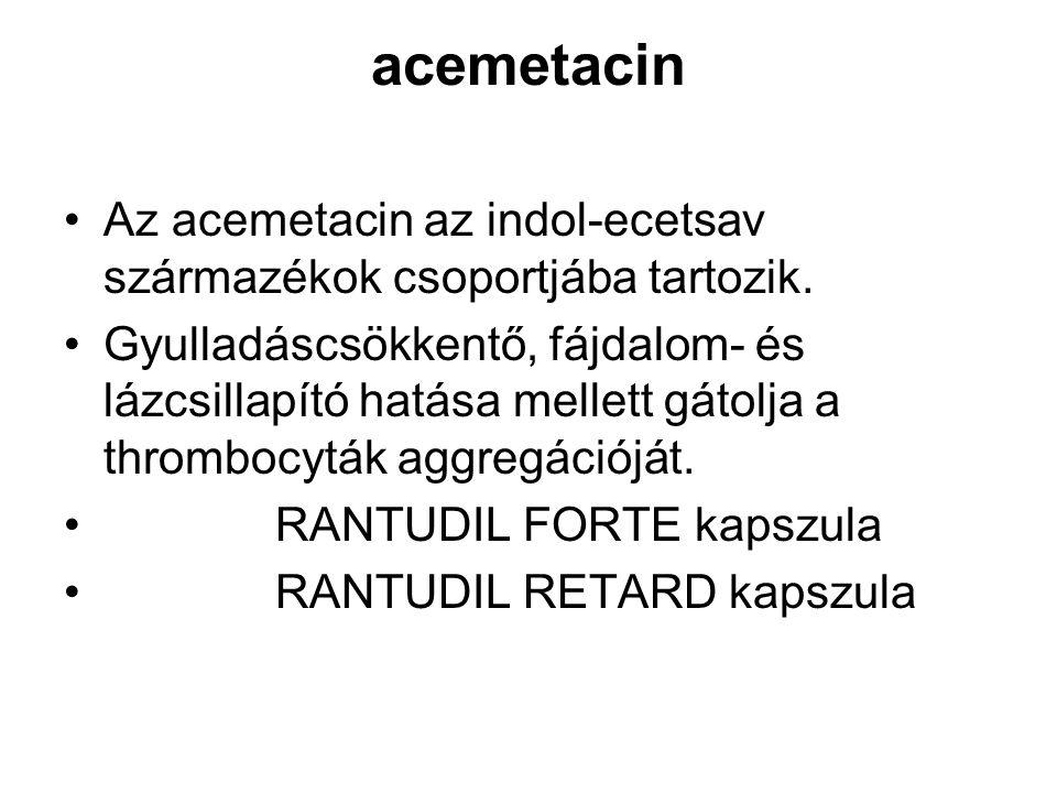 acemetacin Az acemetacin az indol-ecetsav származékok csoportjába tartozik.