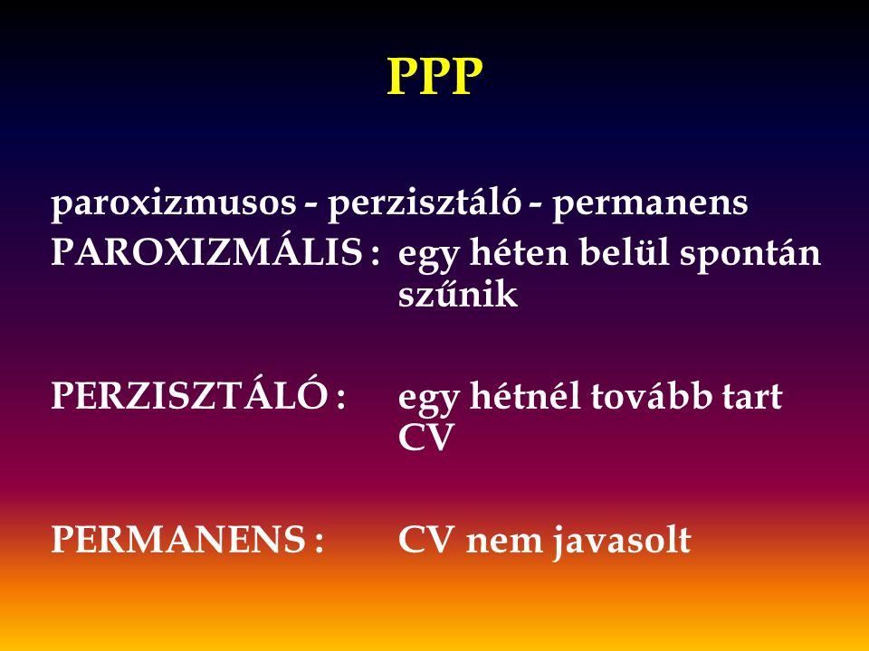 PPP paroxizmusos - perzisztáló - permanens