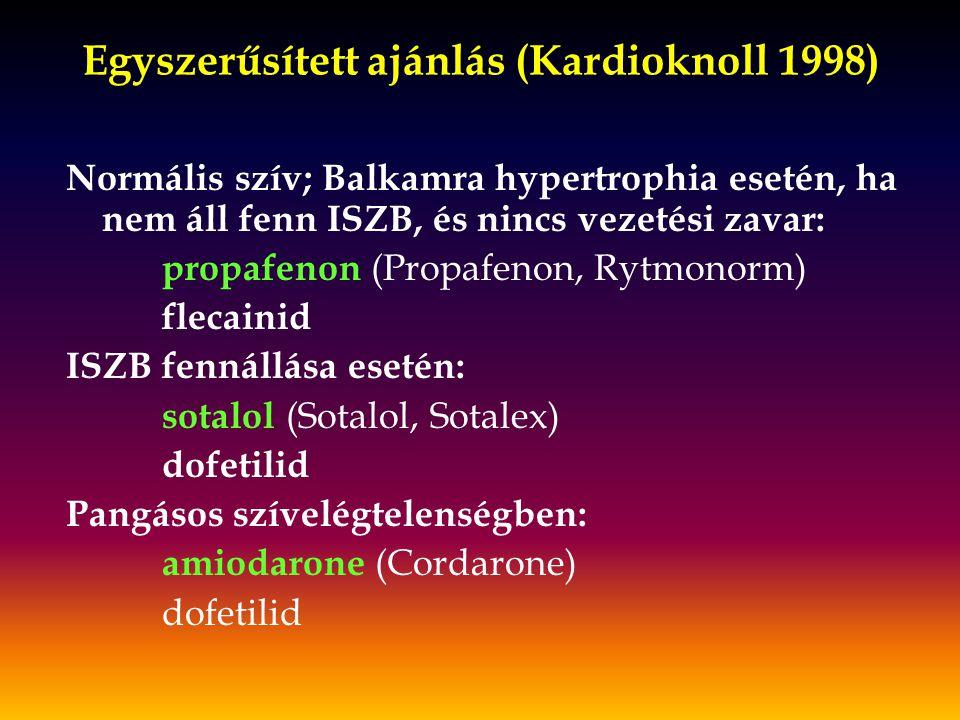 Egyszerűsített ajánlás (Kardioknoll 1998)
