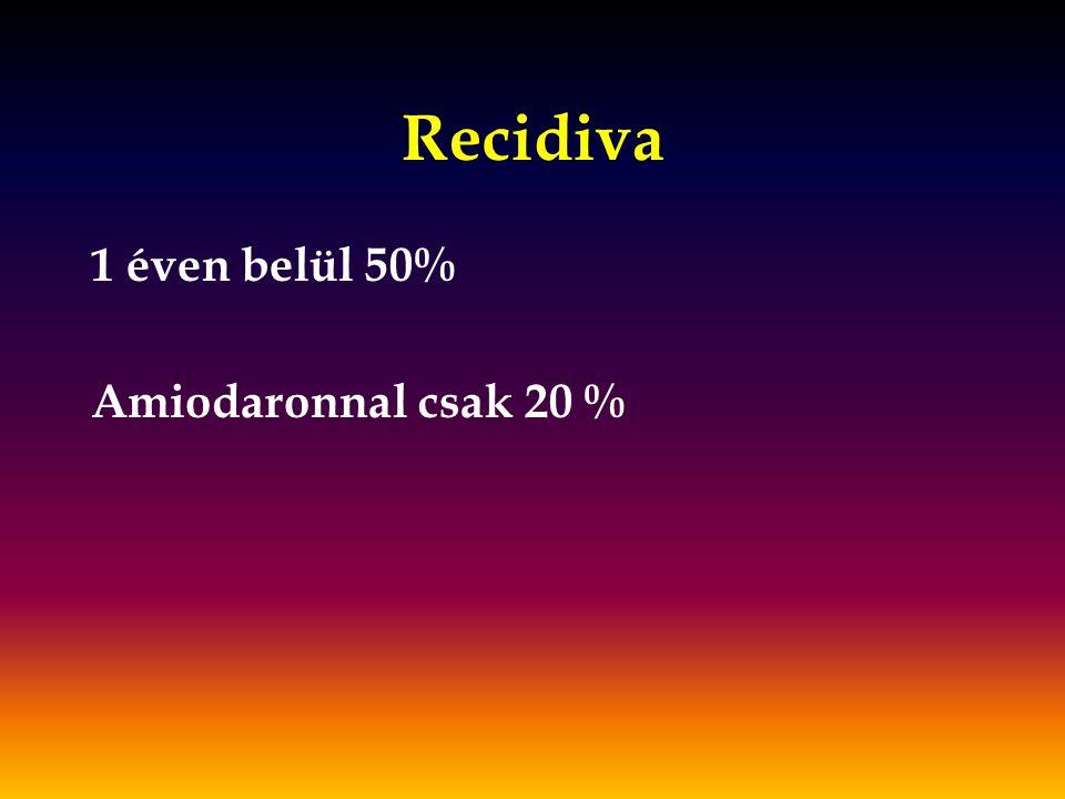 Recidiva 1 éven belül 50% Amiodaronnal csak 20 %