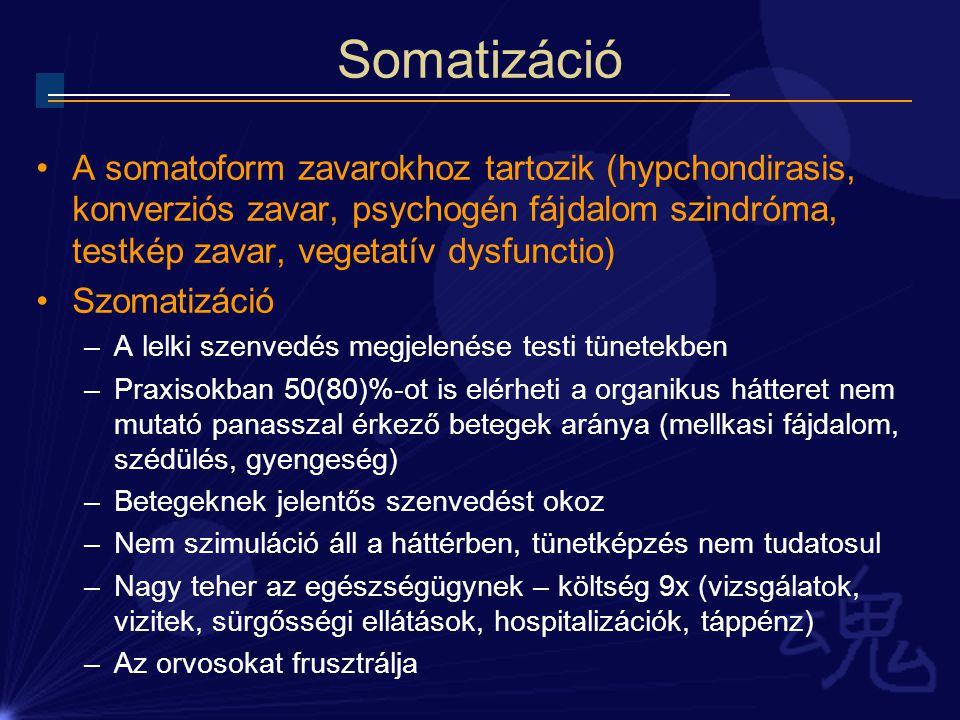 Somatizáció A somatoform zavarokhoz tartozik (hypchondirasis, konverziós zavar, psychogén fájdalom szindróma, testkép zavar, vegetatív dysfunctio)