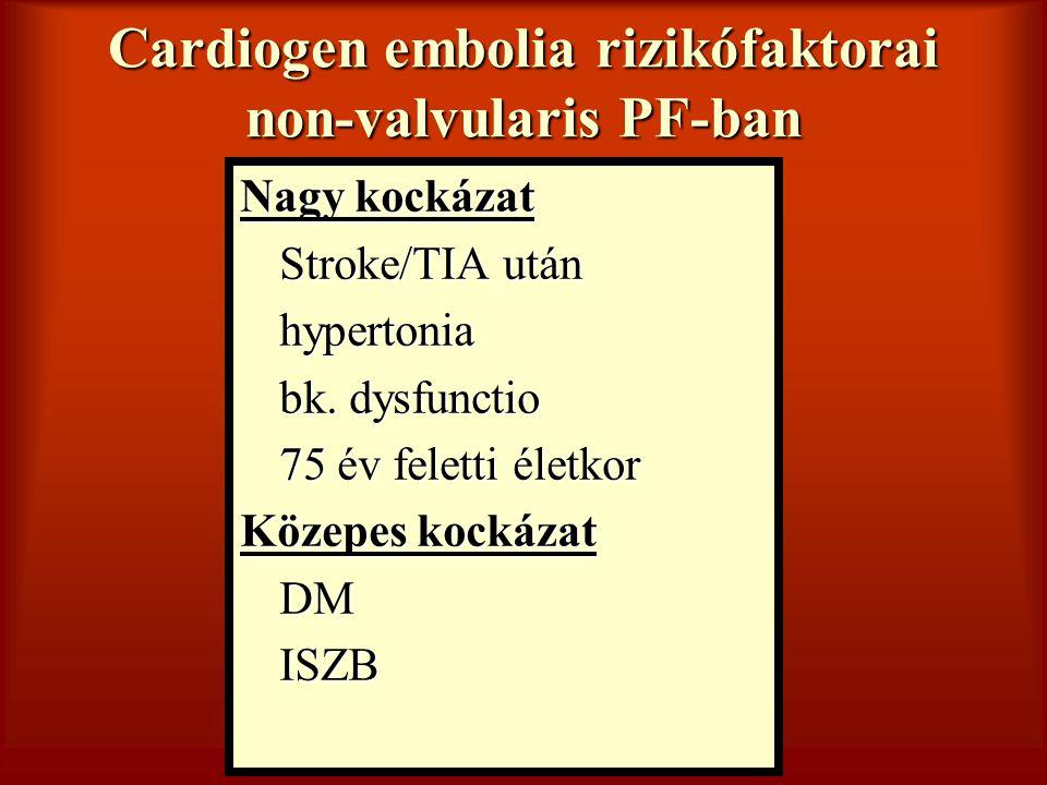 Cardiogen embolia rizikófaktorai non-valvularis PF-ban
