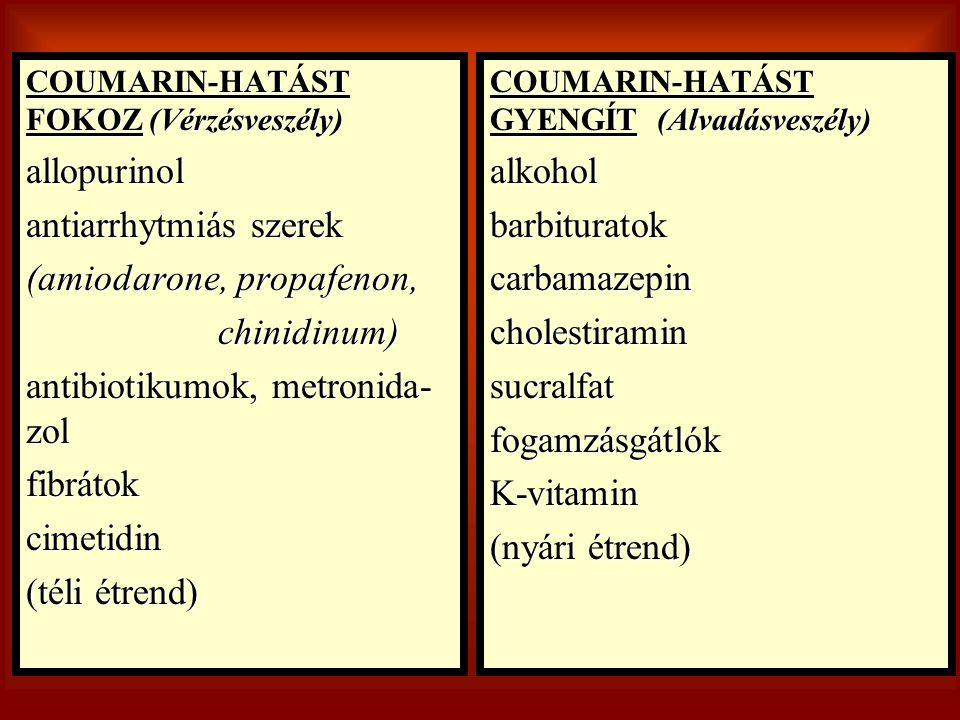 antiarrhytmiás szerek (amiodarone, propafenon, chinidinum)