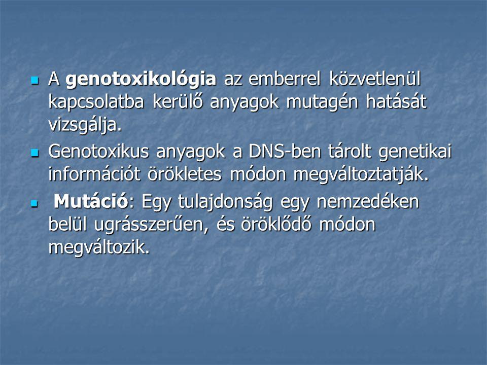 A genotoxikológia az emberrel közvetlenül kapcsolatba kerülő anyagok mutagén hatását vizsgálja.